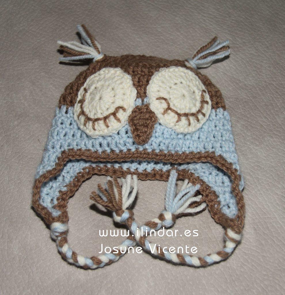 Gorro búho crochet bebé