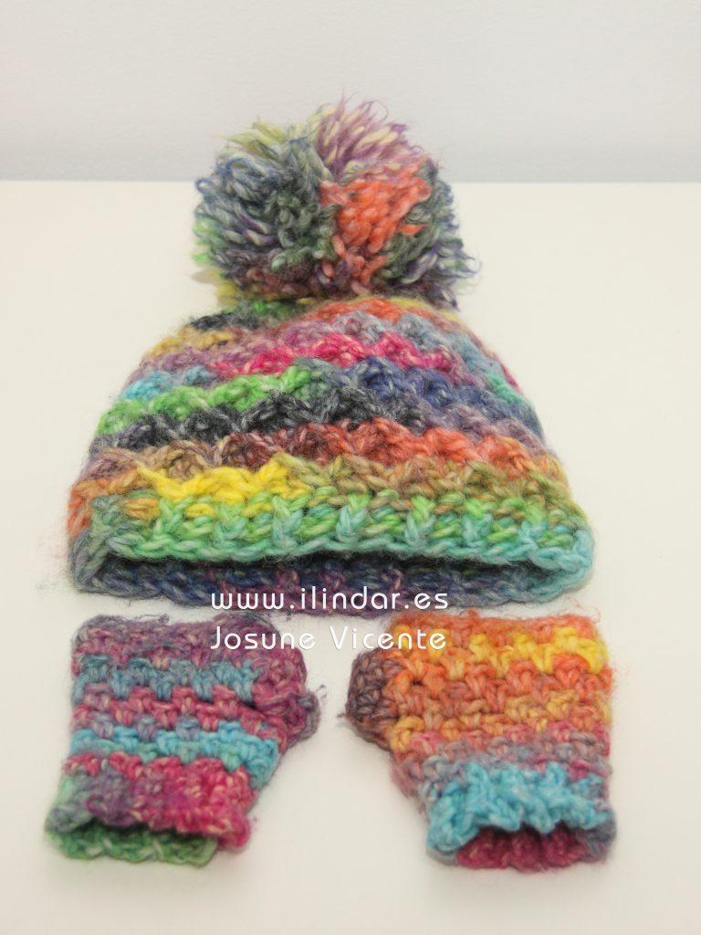 Conjunto Gorro y Mitones Infantil crochet